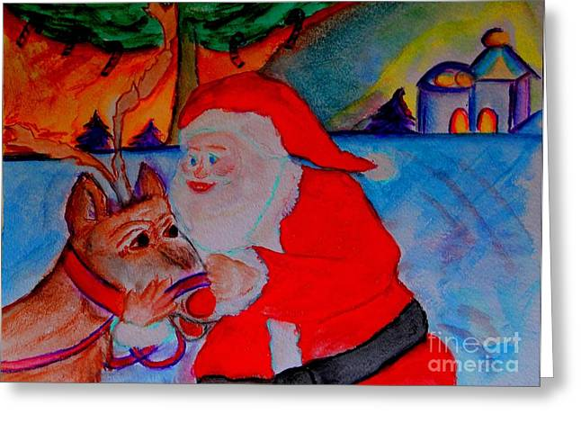 The Man In The Red Suit And A Red Nosed Reindeer Greeting Card by Helena Bebirian