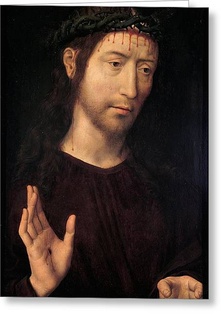 The Man Of Sorrows Blessing Greeting Card by Hans Memling
