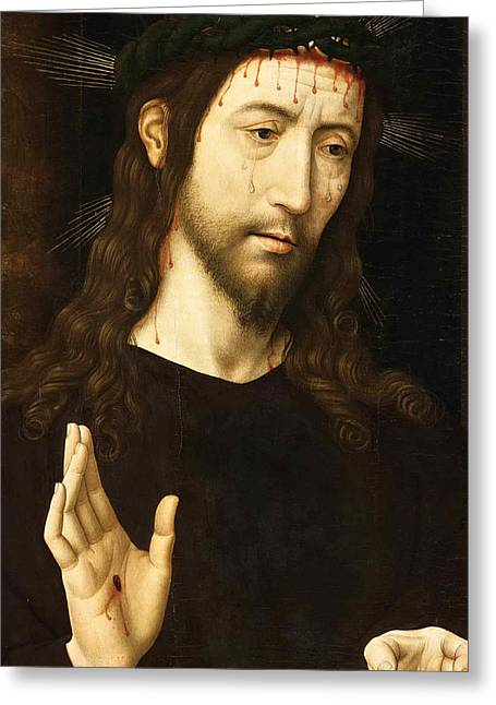 The Man Of Sorrows. Christ Crowned With Thorns Greeting Card by Domenico Ghirlandaio