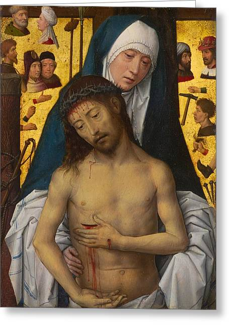The Man Of Sorrows In The Arms Of The Virgin Greeting Card by Hans Memling