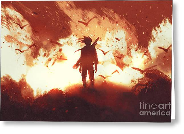 The Man With A Gun Standing Against Greeting Card by Tithi Luadthong