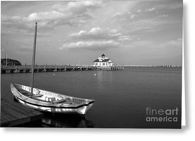 The Manteo Waterfront Bw Greeting Card by Mel Steinhauer