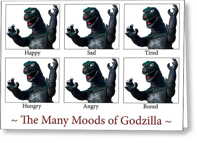 The Many Moods Of Godzilla Greeting Card by William Patrick