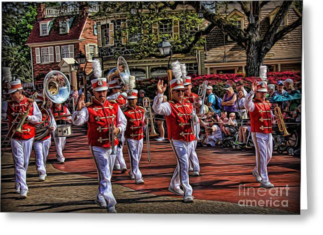 The Marching Band Greeting Card by Lee Dos Santos