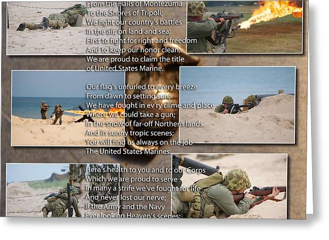 The Marine Corp Hymn Greeting Card by Thomas Woolworth