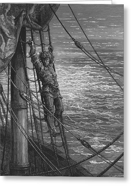 The Mariner Describes To His Listener The Wedding Guest His Feelings Of Loneliness And Desolation  Greeting Card by Gustave Dore