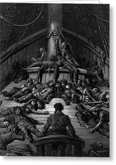 The Mariner Gazes On His Dead Companions And Laments The Curse Of His Survival While All His Fellow  Greeting Card by Gustave Dore