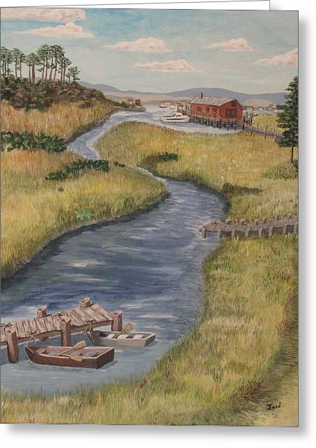 Greeting Card featuring the painting The Marshes by Hilda and Jose Garrancho