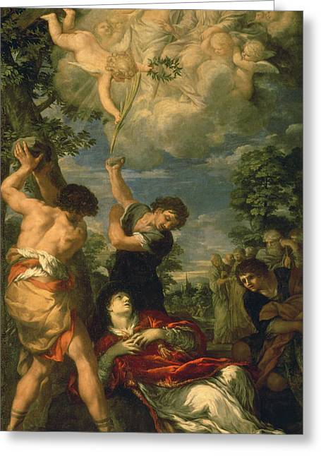 The Martyrdom Of Saint Stephen, 1660 Oil On Canvas Greeting Card by Pietro da Cortona