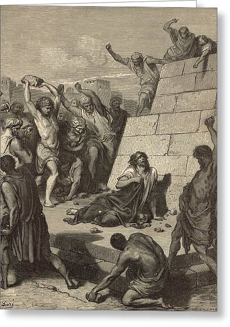 The Martyrdom Of St. Stephen Greeting Card by Antique Engravings