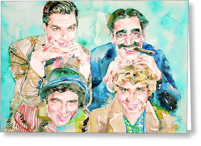 The Marx Brothers / Watercolor Painting Greeting Card by Fabrizio Cassetta