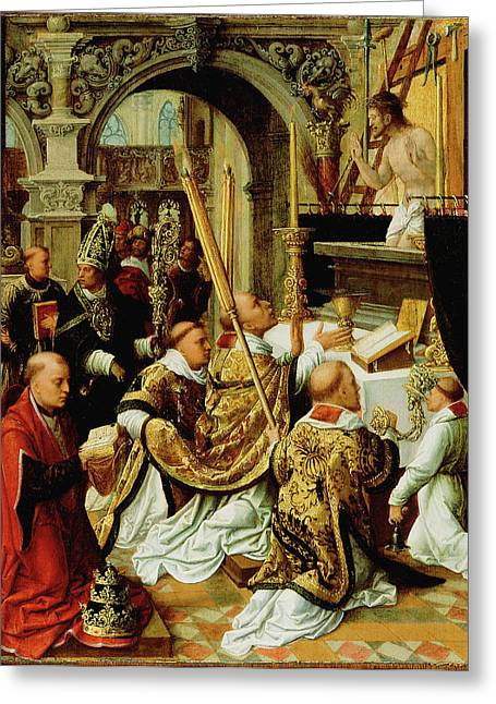 The Mass Of Saint Gregory The Great Adriaen Ysenbrandt Greeting Card