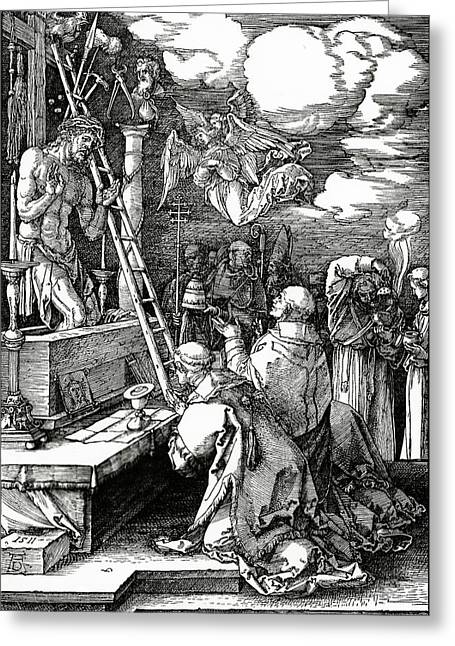 The Mass Of St. Gregory Greeting Card by Albrecht Duerer