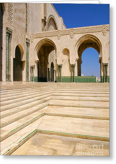 Greeting Card featuring the photograph The Massive Colonnades Leading To The Hassan II Mosque Sour Jdid Casablanca Morocco by Ralph A  Ledergerber-Photography