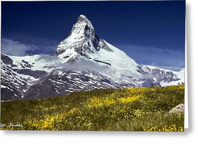 The Matterhorn With Alpine Meadow In Foreground Greeting Card