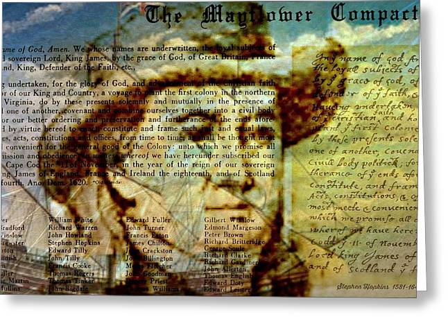 The Mayflower Compact Greeting Card by Diana Angstadt