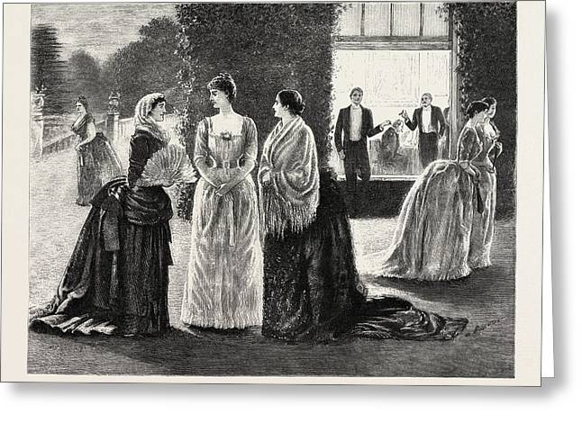 The Meeting, 1888 Engraving Greeting Card by Du Maurier, George L. (1834-97), English