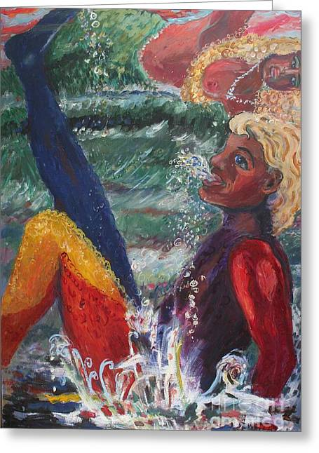 Greeting Card featuring the painting The Mermaid Twins by Avonelle Kelsey