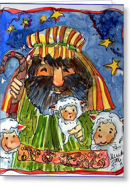 The Merry Shepherd Greeting Card by Mindy Newman