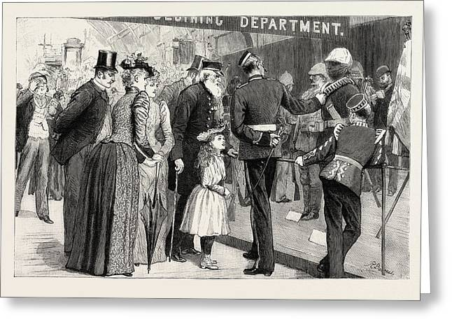 The Military Exhibition Revisited Interested Spectators Greeting Card by English School