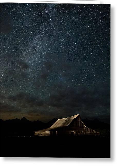 The Milky Way On Moulton Barn - Grand Teton National Park Greeting Card