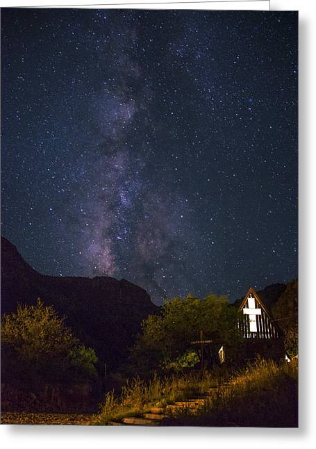 The Milky Way To The Chapel Greeting Card by Aaron Bedell