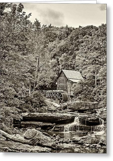 The  Mill At Babcock Sepia Greeting Card by Steve Harrington