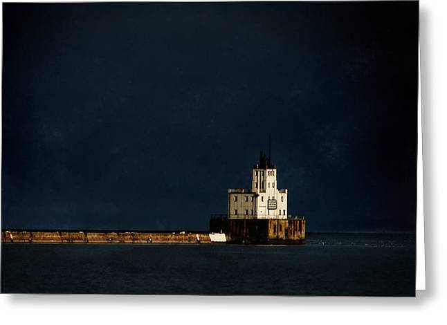 The Milwaukee Breakwater Lighthouse Greeting Card by David Blank