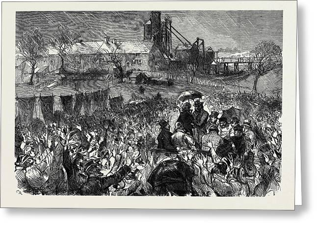 The Miners Strike In Durham Great Mass Meeting At Twizell Greeting Card