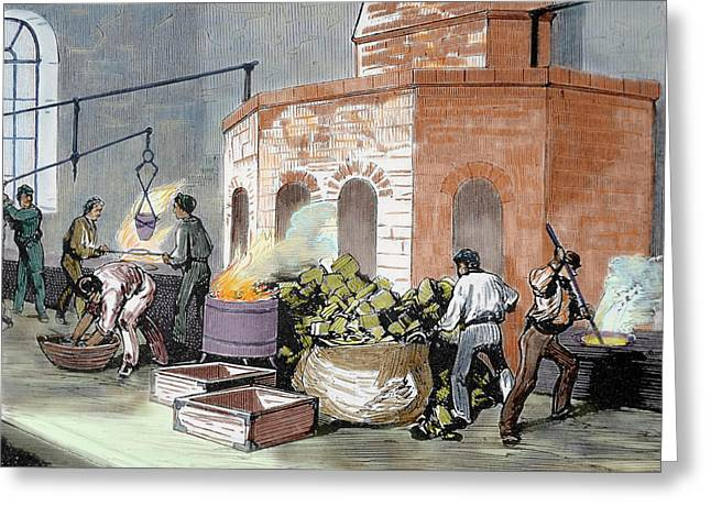 The Mint House Workers In The Smelting Greeting Card by Prisma Archivo