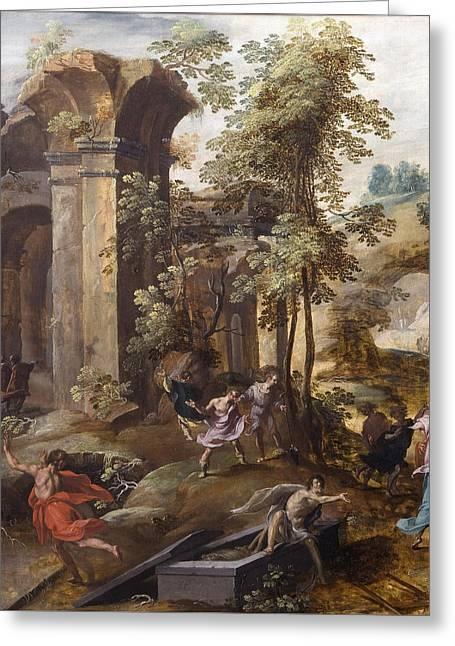The Miracle At The Grave Of Elisha Greeting Card
