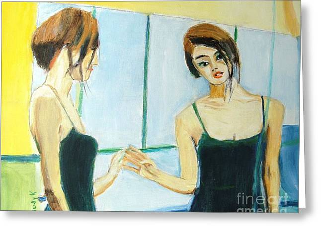 The Mirror Has Two Faces Greeting Card by Judy Kay