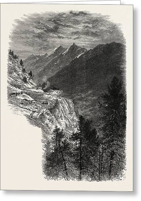 The Mischabelhorner, From The Zmutt Valley Greeting Card by Swiss School