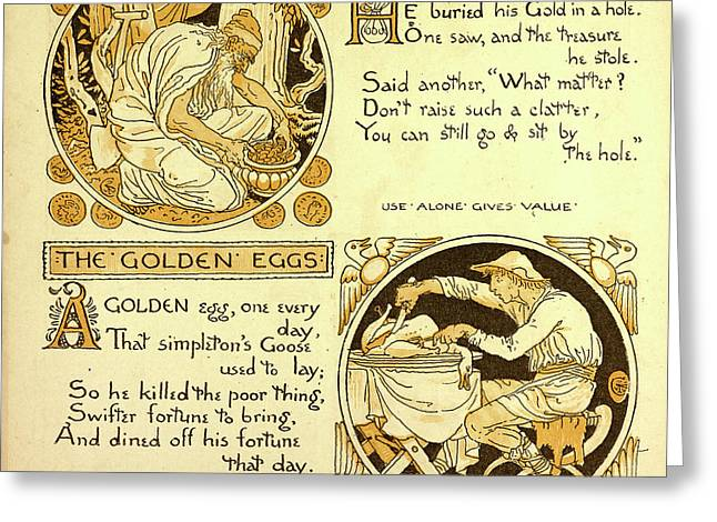 The Miser And His Gold The Golden Eggs Greeting Card