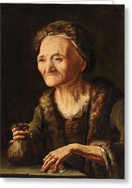 The Miser. The Old Bailiff Woman Greeting Card by Balthasar Denner