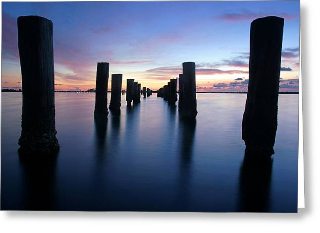The Missing Pier At Sunset Greeting Card