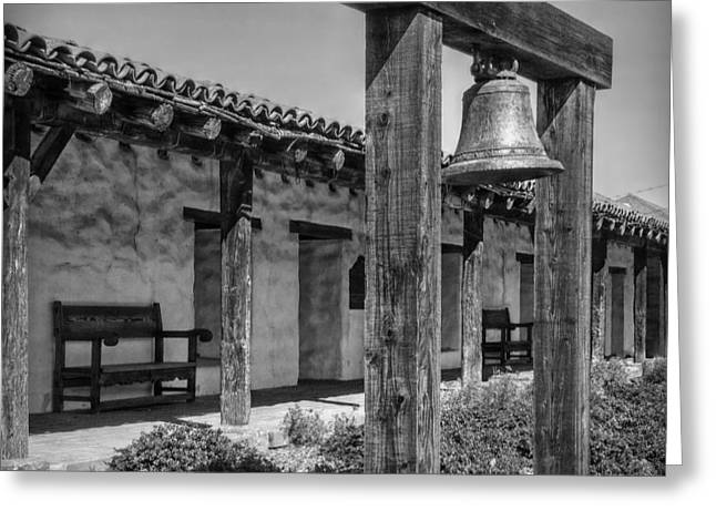 The Mission Bell B/w Greeting Card by Hanny Heim