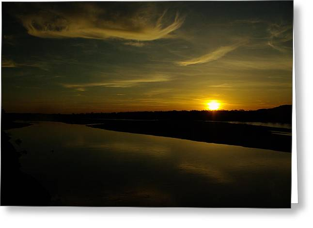 The Missouri River At Sunset South Of Culbertson Mt  Greeting Card