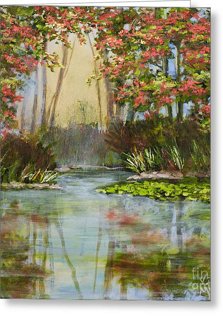 The Mist Beyond With Gold Leaf By Vic Mastis Greeting Card by Vic  Mastis