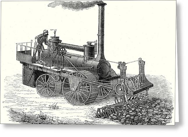 The Mm. Barrat Brothers Forked Hoe Steam Machine Greeting Card