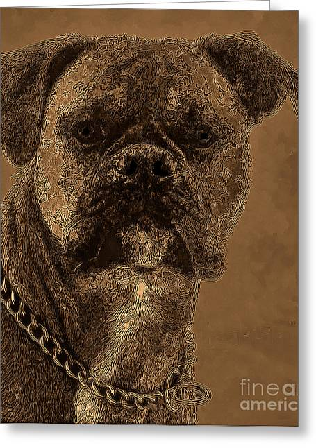 The Modern Boxer Bulldog Greeting Card by Lesa Fine