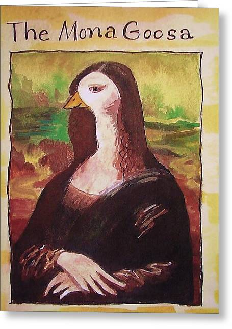 The Mona Goosa Greeting Card by Margaret Bobb