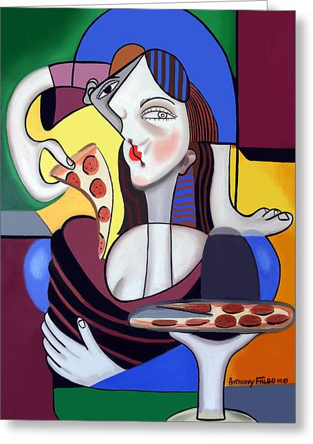 Greeting Card featuring the painting The Mona Pizza by Anthony Falbo