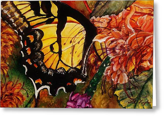 The Swallowtail And The Pagoda Greeting Card by Lil Taylor