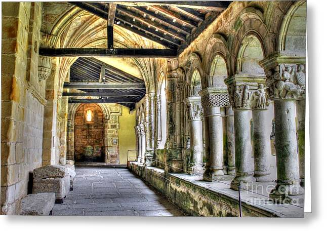 The Monastery Corridors Greeting Card by Ines Bolasini
