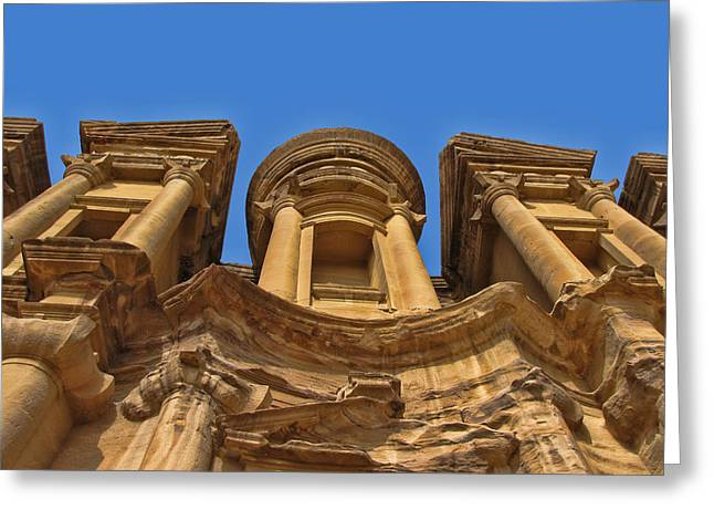 Greeting Card featuring the photograph The Monastery In Petra by David Gleeson