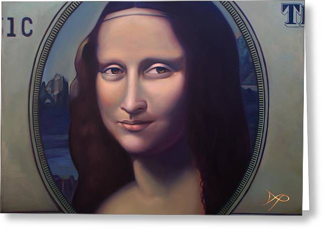 Money Lisa And The Commodification Of Art Greeting Card by Patrick Anthony Pierson