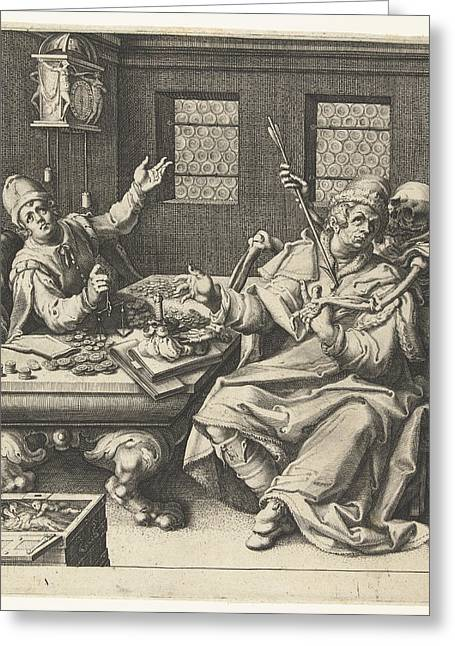 The Money Weighers And Death, Jacob De Gheyn II Greeting Card