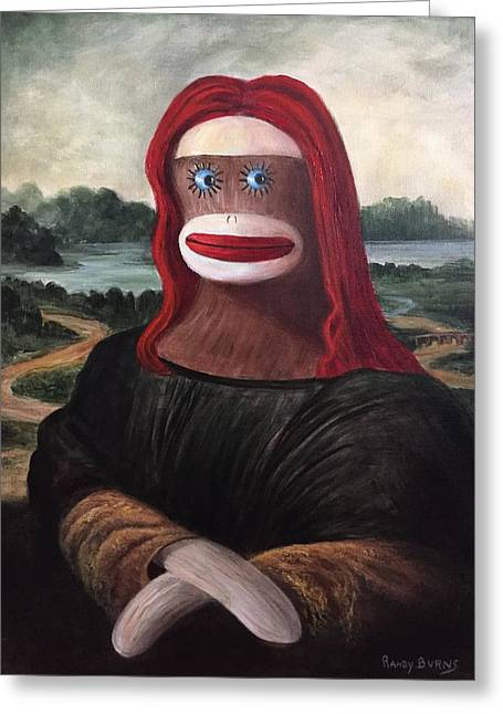 Greeting Card featuring the painting The Monkey Lisa by Randol Burns