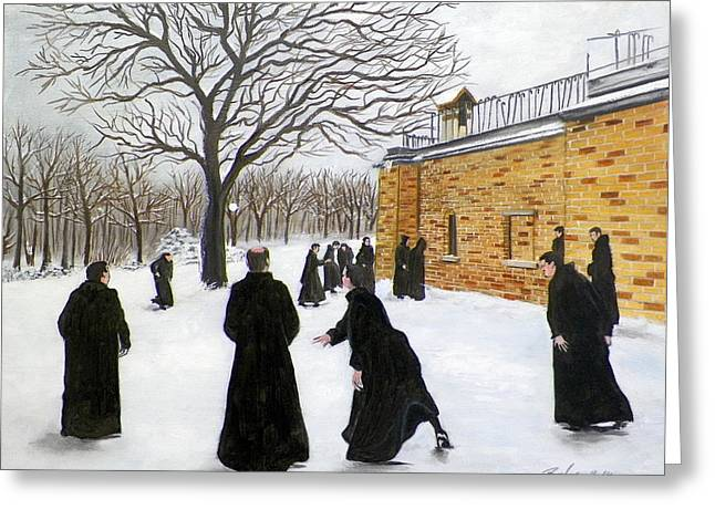 The Monks Of Clear Creek Abby Greeting Card by RB McGrath